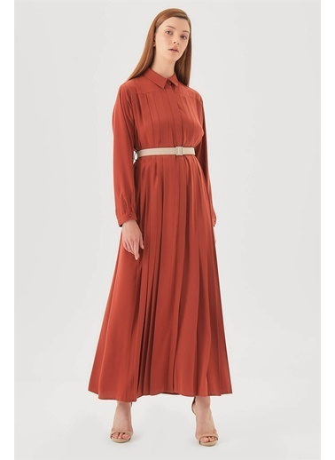 Vivencia Pileli ve Kemerli  Elbise Kiremit